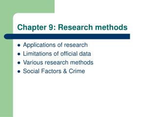 Chapter 9: Research methods