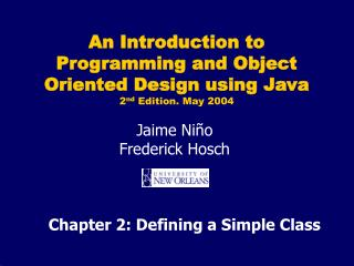 Chapter 2: Defining a Simple Class
