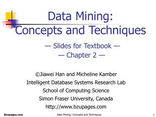 Data Mining:  Concepts and Techniques    Slides for Textbook      Chapter 2