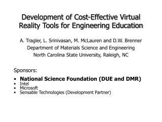 Development of Cost-Effective Virtual Reality Tools for Engineering Education