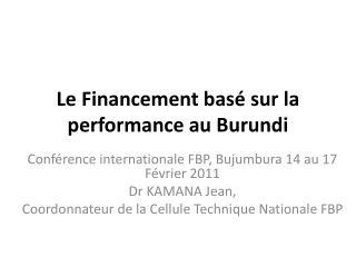 Le Financement bas  sur la performance au Burundi