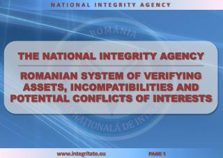 THE NATIONAL INTEGRITY AGENCY __________________________________________________________________________________________
