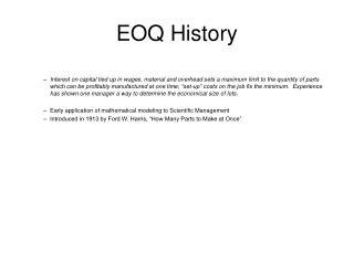 EOQ History