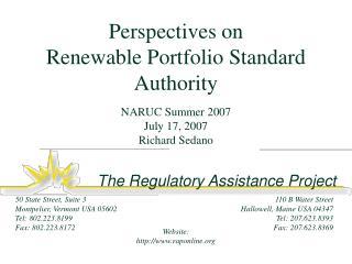 Perspectives on  Renewable Portfolio Standard Authority