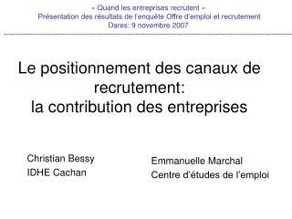 Le positionnement des canaux de recrutement:  la contribution des entreprises