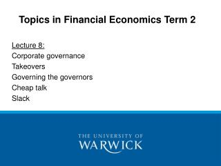 Topics in Financial Economics Term 2