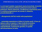 EPIDEMIOLOGIA MALATTIE APPARATO RESPIRATORIO