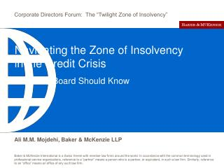 Navigating the Zone of Insolvency in the Credit Crisis