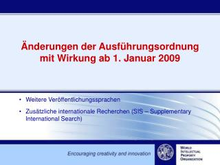 nderungen der Ausf hrungsordnung mit Wirkung ab 1. Januar 2009