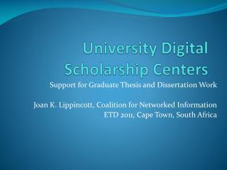 University Digital Scholarship Centers