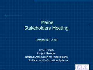 Maine Stakeholders Meeting
