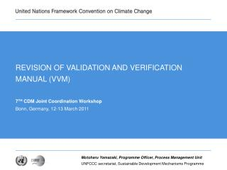 REVISION OF VALIDATION AND VERIFICATION MANUAL VVM