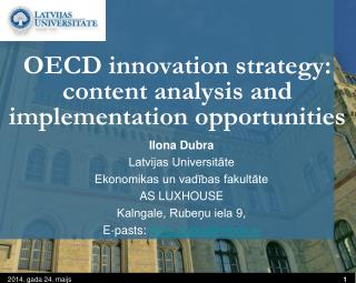OECD innovation strategy: content analysis and implementation opportunities