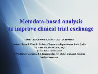 Metadata-based analysis  to improve clinical trial exchange