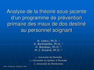 Analyse de la th orie sous-jacente d un programme de pr vention primaire des maux de dos destin  au personnel soignant