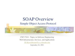 SOAP Overview Simple Object Access Protocol