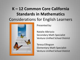K   12 Common Core California Standards in Mathematics Considerations for English Learners