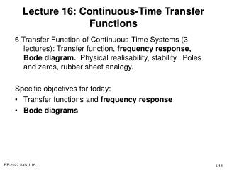 Lecture 16: Continuous-Time Transfer Functions