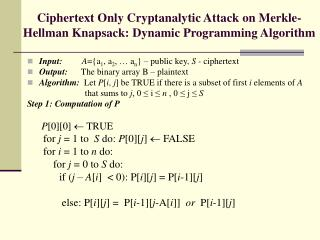 Ciphertext Only Cryptanalytic Attack on Merkle-Hellman Knapsack: Dynamic Programming Algorithm