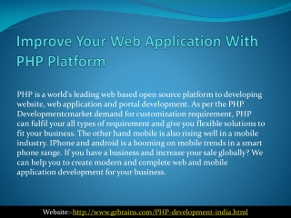 Improve Your Web Application With PHP Platform