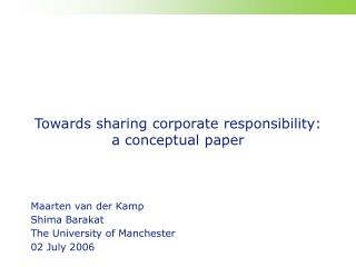Towards sharing corporate responsibility: a conceptual paper