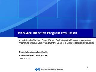 TennCare Diabetes Program Evaluation