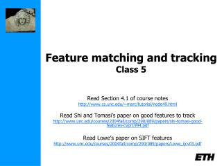 Feature matching and tracking Class 5