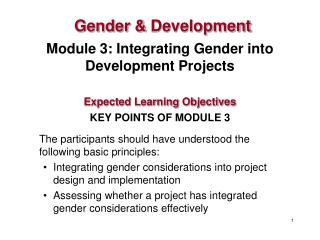 Module 3: Integrating Gender into Development Projects