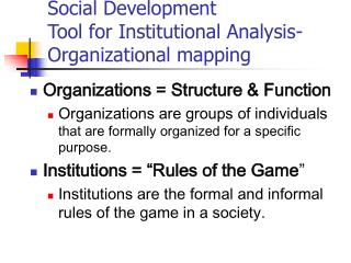 Social Development Tool for Institutional Analysis- Organizational mapping