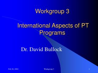 Workgroup 3   International Aspects of PT Programs