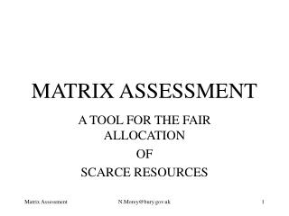 MATRIX ASSESSMENT