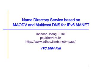 Name Directory Service based on MAODV and Multicast DNS for IPv6 MANET