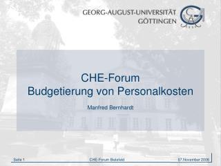 CHE-Forum Budgetierung von Personalkosten  Manfred Bernhardt