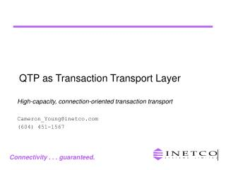 QTP as Transaction Transport Layer