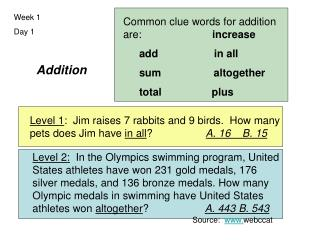 Addition Source: webccat Common clue words for addition are: increase