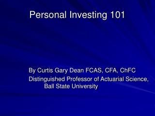 Personal Investing 101