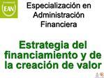 Especializaci n en Administraci n Financiera