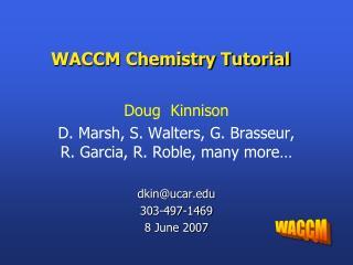 WACCM Chemistry Tutorial