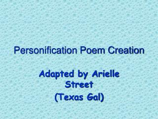 Personification Poem Creation