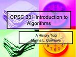 CPSC 331 Introduction to Algorithms