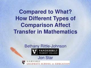 Compared to What How Different Types of Comparison Affect Transfer in Mathematics