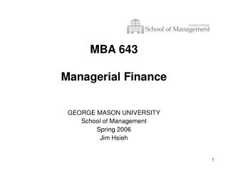 MBA 643  Managerial Finance