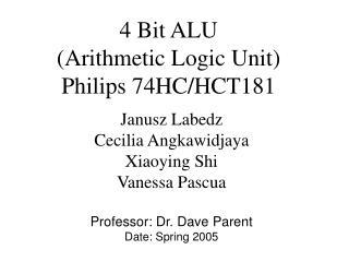 4 Bit ALU Arithmetic Logic Unit Philips 74HC
