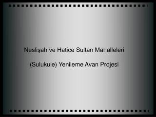 Neslisah ve Hatice Sultan Mahalleleri  Sulukule Yenileme Avan Projesi