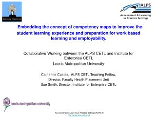Assessment and Learning in Practice Settings ALPS