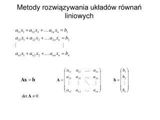 Metody rozwiazywania uklad w r wnan liniowych
