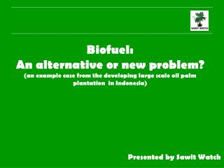 Biofuel:  An alternative or new problem an example case from the developing large scale oil palm plantation  in Indonesi