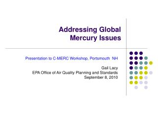 Addressing Global  Mercury Issues