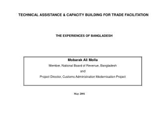 TECHNICAL ASSISTANCE  CAPACITY BUILDING FOR TRADE FACILITATION