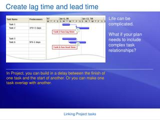 Create lag time and lead time